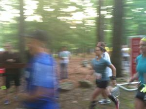 Here's a super blurry shot of me starting the race! I don't mind that you can't really see me, but I am bummed that you can't tell I'm wearing pink argyle socks.