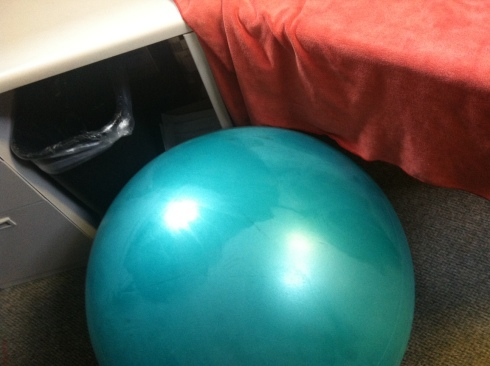 Seriously, I'm disgusting. I had to protect my desk with my towel, and that really shiny, suspiciously penis-shaped spot on my stability ball? Yeah, that's ass sweat.