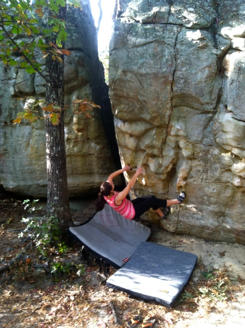 One of many pictures from day one where I'm no more than two feet off the ground. (I blame it on thinking that climbing right after sitting in a car for 20 hours was an okay idea.)